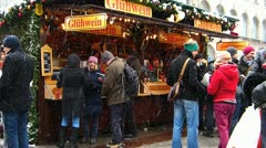 Germany Munich Marienplatz Christmas Advent Fair Market Xmas Fruit Punch - stock footage