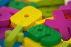 Wooden toys extreme close up Stock Photos
