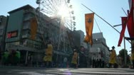 Stock Video Footage of Ferris wheel, warriors, banners, festival, matsuri, Japan, city
