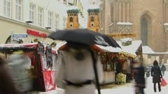 Stock Video Footage of Europe Germany snowy Christmas Advent Fair Market Xmas