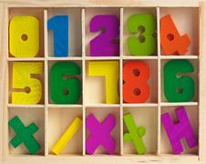 Wooden set for training to arithmetics Stock Photos