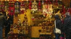 Germany Munich Christmas Advent Fair Market Xmas decoration souvenirs - stock footage