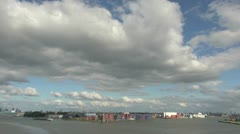 Netherlands Rotterdam clouds over colorful containers in ship yard Stock Footage