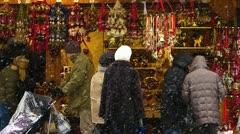 Germany Munich Christmas Advent Fair Market Xmas decoration souvenirs Stock Footage