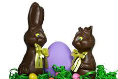chocolate Easter bunny humor - stock photo