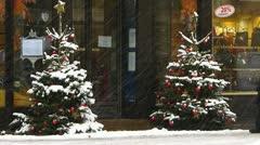 Europe Germany Munich pedestrian walking in snowy Christmas Xmas Stock Footage