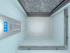 Stock Illustration of modern elevator interior and exterior