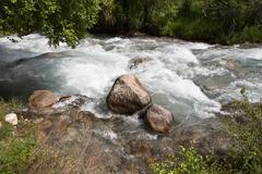 rugged mountain river outdoors - stock photo