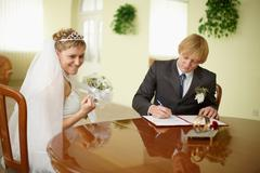 Solemn registration - wedding ceremony Stock Photos