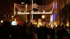 Stock Video Footage of Europe Germany Munich Christmas Xmas Advent market fair Christkindlmarkt