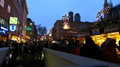 Stock Video Footage of Europe Germany Munich Christmas Xmas Advent market fair