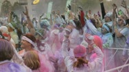 Stock Video Footage of HD Stock Footage 1080p- Runners at color run - Powder flying, celebration