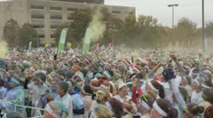 HD Stock Footage 1080p- color run - overhead view, thousands celebrate Stock Footage