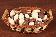 Nuts in chocolate in whisker basket Stock Photos