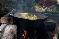 Stock Photo of cooking roast potatoes on the nature