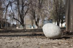 Stock Photo of a large round stone on the ground