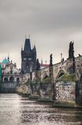 Charles bridge in prague early in the morning Stock Photos