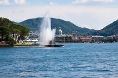 beautiful fountain in como city (italy) - stock photo