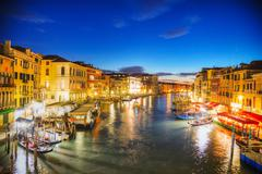 venice at night time - stock photo