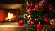 Stock Video Footage of Tracking Across Christmas Tree Revealing Fireplace in Background