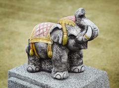 concrete sculpture - old indian elephant - stock photo