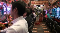 Gambling parlor in Japan - walk through Stock Footage