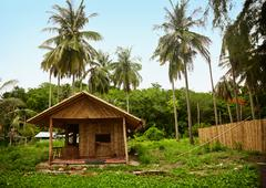 Bamboo hut in the old thai village Stock Photos