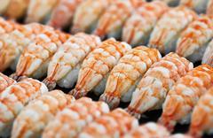 Japanese cuisine - shrimp sushi Stock Photos