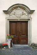 Noble decorated entrance door Stock Photos