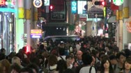 Stock Video Footage of Busy shopping street at night in Osaka in Japan