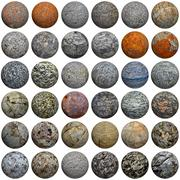 Set of 3d stone balls on white - seamless texture Stock Photos