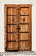 An old dilapidated wooden door Stock Photos