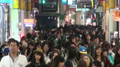 Famous shopping street filled with crowds in Osaka, Japan Stock Footage
