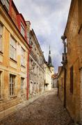 Old alley. Tallinn, Estonia - stock photo
