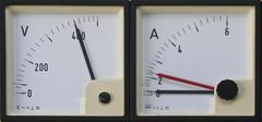 Voltmeter and ammeter - stock photo