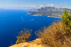 aerial view on cassis and calanque coast, southern france - stock photo