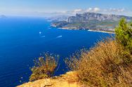Stock Photo of aerial view on cassis and calanque coast, southern france