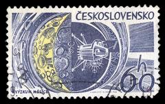 Moon research space exploration postage stamp Stock Photos