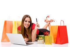 attractive shopping woman  - stock photo