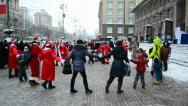 Santa Claus Parade on December 22, 2012 in Kiev, Ukraine. Stock Footage