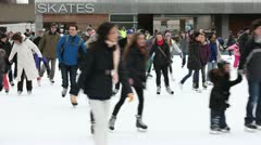 People skates on  outdoor rink Stock Footage