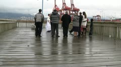 Wet Wharf Wedding And Passing Of The Bouquets Stock Footage
