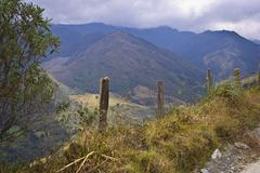 mountain road in the andes - stock photo