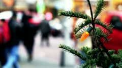 Christmas tree & shoppers - stock footage