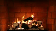 Real Wood Fire Burning in a Brick Fireplace Stock Footage