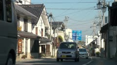 Traffic in traditional village in Japan Stock Footage