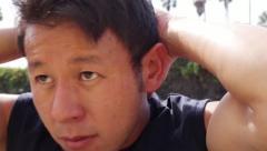 Young Asian Man Exercising Doing Sit Ups Close Up Stock Footage