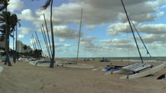 Sailboats along the sandy Fort Lauderdale Beach Stock Footage