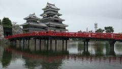 Japanese castle and bridge (zoom out) Stock Footage