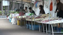 Small fruit and vegetable market in Japanese village Stock Footage